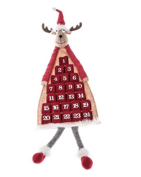 Dakls Červený textilný závesný adventný kalendár v tvare soba Dakls, dĺžka 110 cm