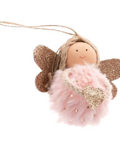 Svetloružová textilná závesná ozdoba v tvare anjela Dakls, dĺžka 9 cm