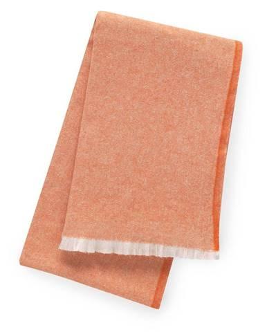 Oranžový pléd s podielom bavlny Euromant Linen, 140 x 160 cm