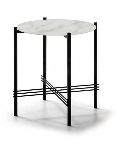 Bielo-čierny odkladací stolík so sklenenou doskou v mramorovom dekore Marckeric, ø 47 cm