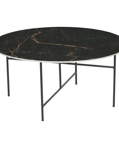 Čierny konferenčný stôl s porcelánovou doskou WOOOD Vida, ⌀ 80 cm