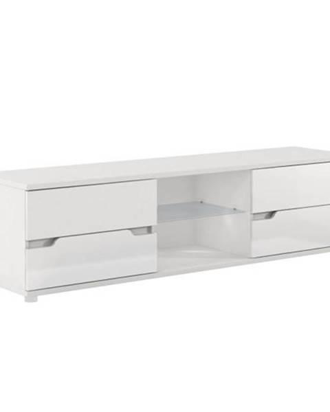 Tempo Kondela RTV stolík biela/biela s extra vysokým leskom ADONIS AS 30