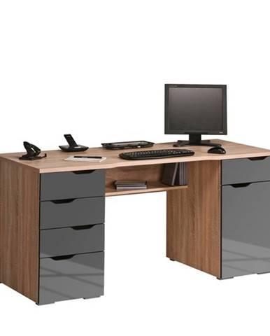 Počítačový stôl LOKI dub sonoma/sivá vysoký lesk