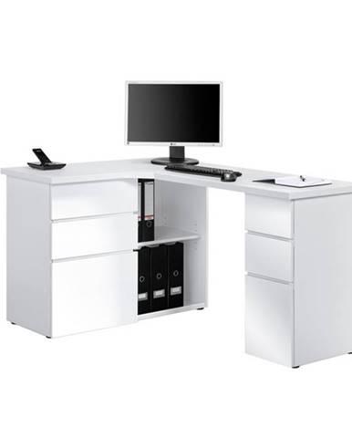 Rohový písací stôl BAKER biela