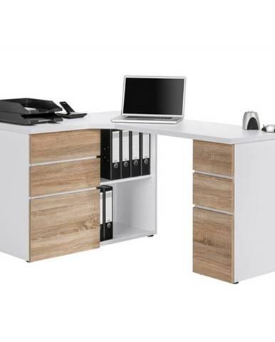 Rohový písací stôl BAKER biela/dub sonoma