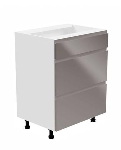Spodná skrinka biela/sivá extra vysoký lesk AURORA D60S3