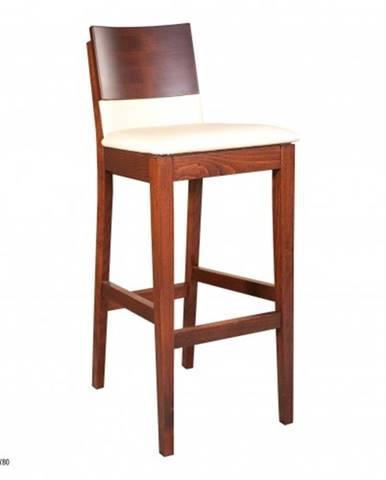 Drewmax Barová stolička - masív KT192 | buk / koža