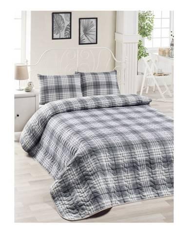 Set sivej bavlnenej prikrývky cez posteľ a 2 obliečok na vankúše Harro Mento, 200×220 cm