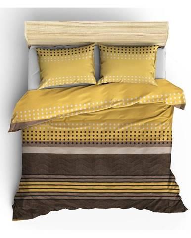 Prešívaná prikrývka s obliečkami na vankúše Miranda Yellow, 200×220cm
