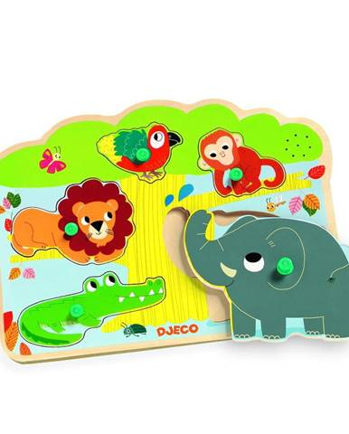 Drevené vkladacie puzzle s motívmi zvieratiek z džungle so zvukmi Djeco