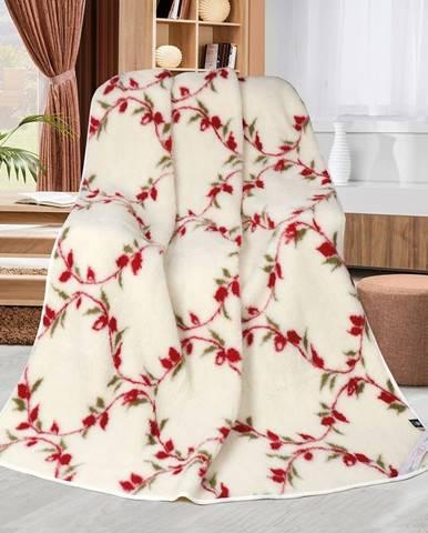 Bellatex Vlnená deka Kvietky popínavé, 155 x 200 cm
