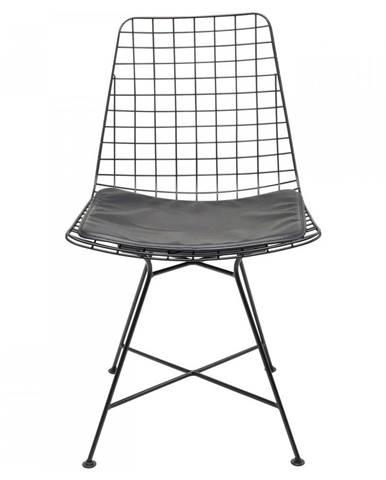 Čierna oceľová jedálenská stolička Kare Design Grid