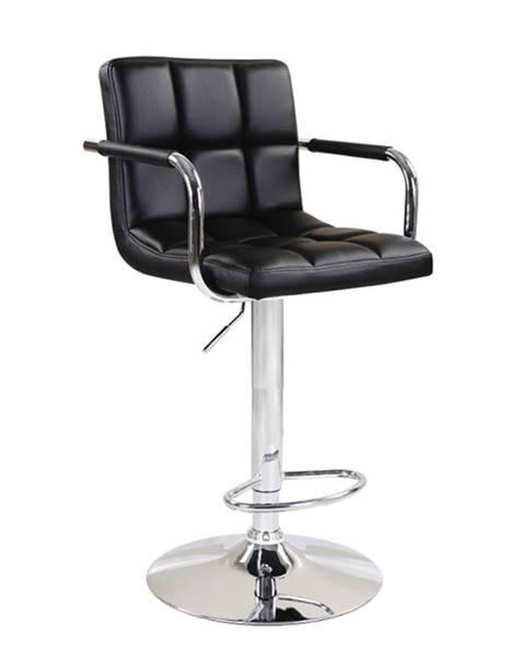 Tempo Kondela Barová stolička čierna ekokoža/chróm LEORA 2 NEW