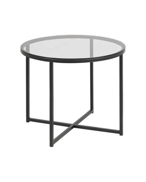 Actona Odkladací stolík so sklenenou doskou Actona Cross, ⌀ 55 cm