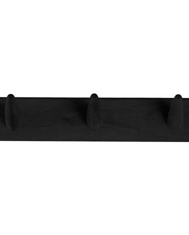 Čierny vešiak na oblečenie z dubového dreva Canett Uno, šírka 40 cm
