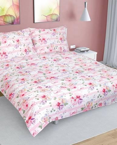 Bellatex Bavlnené obliečky Kvet s pruhom ružová, 200 x 220 cm, 2 ks 70 x 90 cm