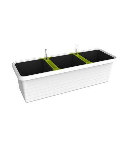 Plastia Samozavlažovací truhlík Berberis TRIO, biela + zelený priečnik