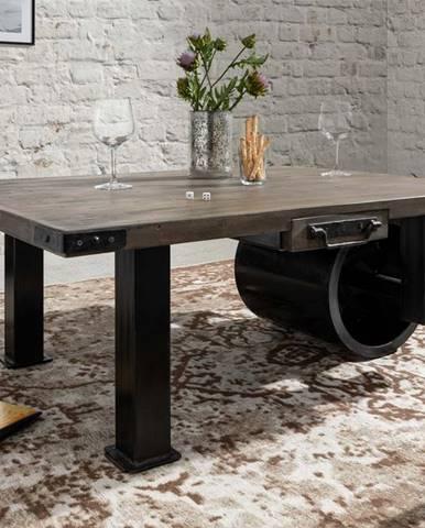 IRON Konferenčný stolík 110x80 cm, mango, sivá