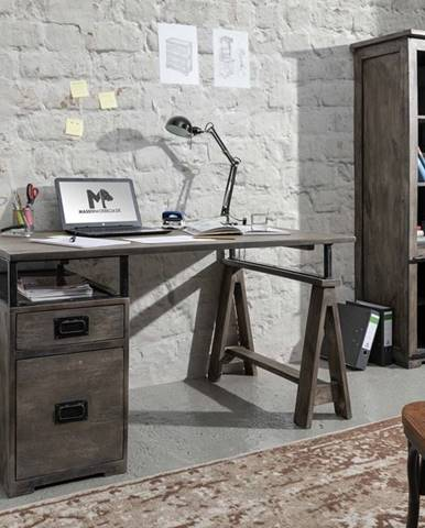 IRON Písací stôl 140x78 cm, mango, sivá