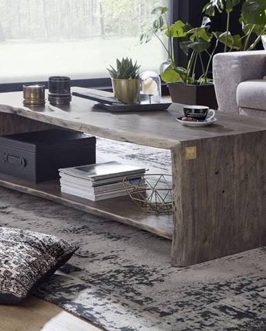 WOODLAND Konferenčný stolík s poličkou 120x70 cm, sivá, akácia