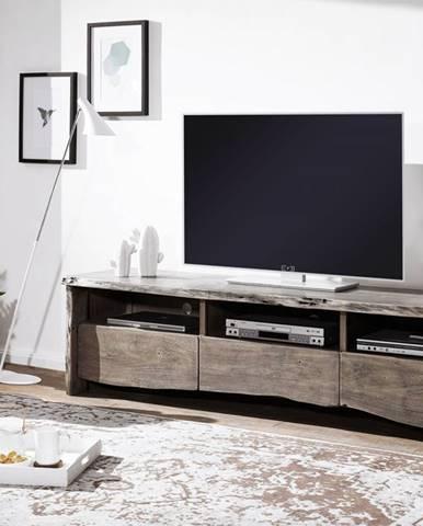 WOODLAND TV stolík 191x50 cm, sivá, akácia
