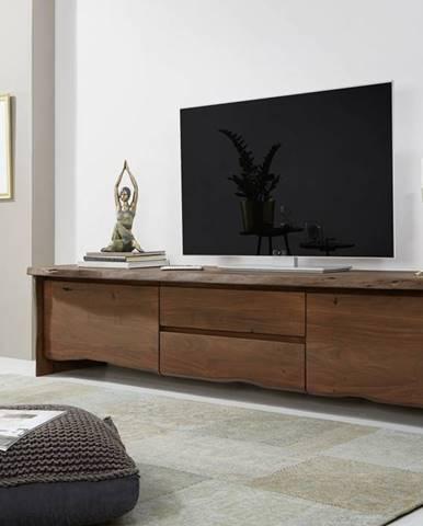 WOODLAND TV stolík 220x50 cm, tmavohnedá, akácia