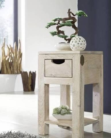 WHITE WOOD Príručný stolík 29x29x50 cm, akácia