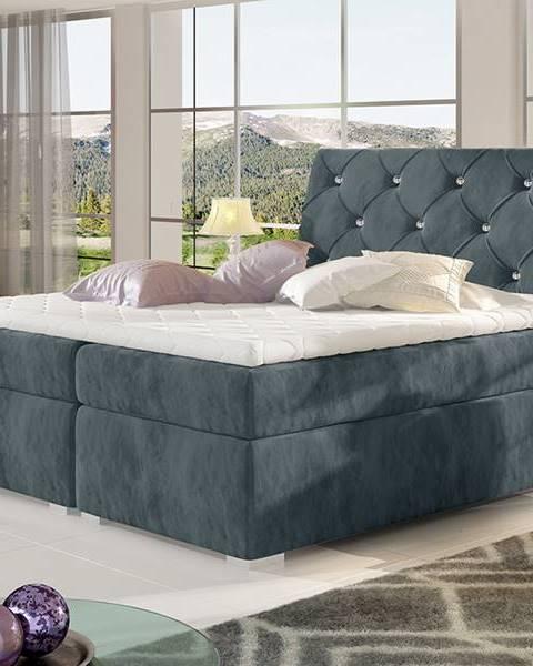 NABBI Beneto 160 čalúnená manželská posteľ s úložným priestorom tmavosivá (Paros 06)