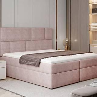 Ferine 145 čalúnená manželská posteľ s úložným priestorom ružová