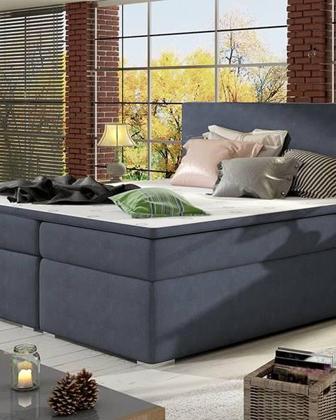 NABBI Diana 160 čalúnená manželská posteľ s úložným priestorom modrá