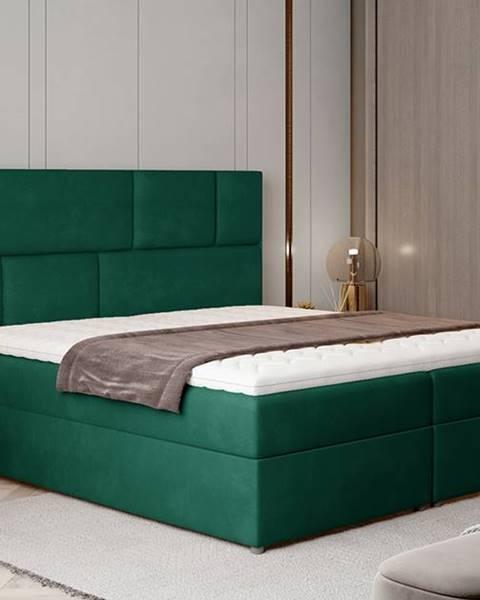 NABBI Ferine 165 čalúnená manželská posteľ s úložným priestorom tmavozelená