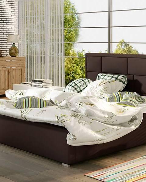 NABBI Liza 160 čalúnená manželská posteľ s roštom tmavohnedá (Soft 66)