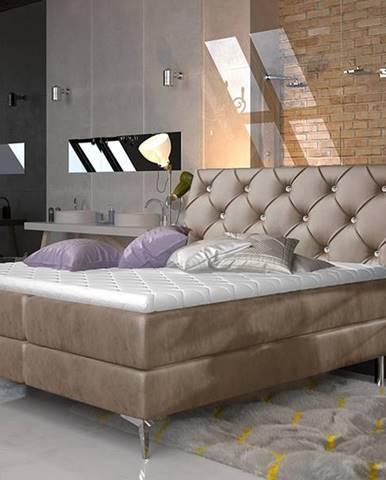 Amika 140 čalúnená manželská posteľ s úložným priestorom hnedá