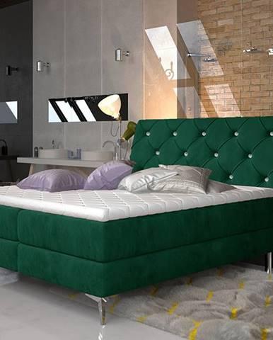 Amika 140 čalúnená manželská posteľ s úložným priestorom tmavozelená