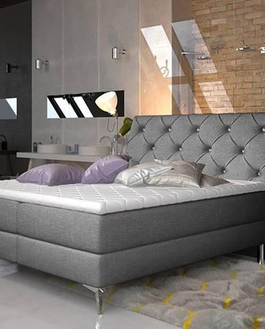 Amika 160 čalúnená manželská posteľ s úložným priestorom sivá