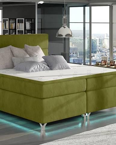 Avellino 160 čalúnená manželská posteľ s úložným priestorom zelená