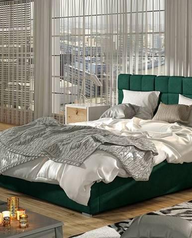 Galimo 160 čalúnená manželská posteľ s roštom tmavozelená