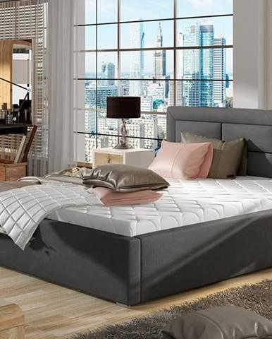 Rovigo UP 200 čalúnená manželská posteľ s roštom tmavosivá