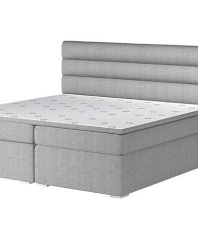 Spezia 180 čalúnená manželská posteľ s úložným priestorom svetlosivá (Orinoco 21)