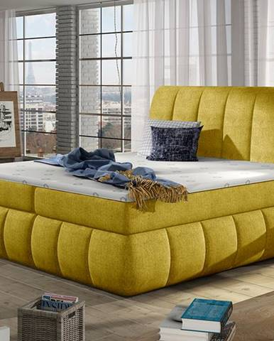Vareso 140 čalúnená manželská posteľ s úložným priestorom žltá