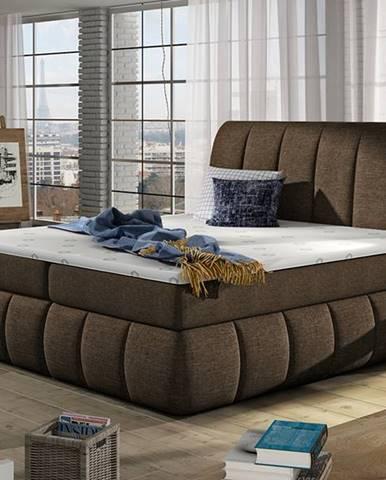 Vareso 180 čalúnená manželská posteľ s úložným priestorom tmavohnedá (Sawana 26)