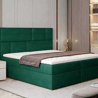 Ferine 165 čalúnená manželská posteľ s úložným priestorom tmavozelená