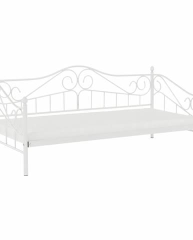 Daina kovová jednolôžková posteľ s roštom biela