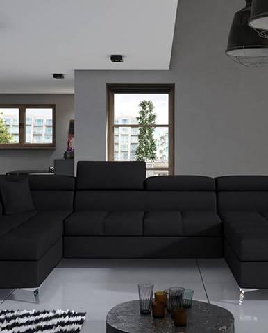 Enrico U L rohová sedačka u s rozkladom a úložným priestorom čierna (Sawana 14)