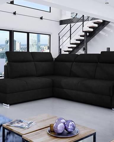 Leren L rohová sedačka s rozkladom a úložným priestorom čierna (Ontario 100)