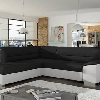 Vora L rohová sedačka s rozkladom a úložným priestorom čierna