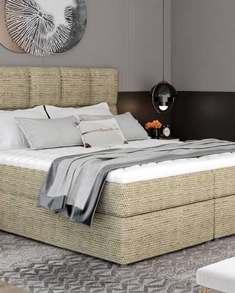 NABBI Grosio 185 čalúnená manželská posteľ s úložným priestorom cappuccino