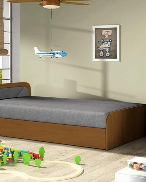 NABBI Pinerolo 80 L jednolôžková posteľ s úložným priestorom sivá