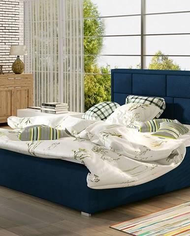 Liza 160 čalúnená manželská posteľ s roštom tmavomodrá