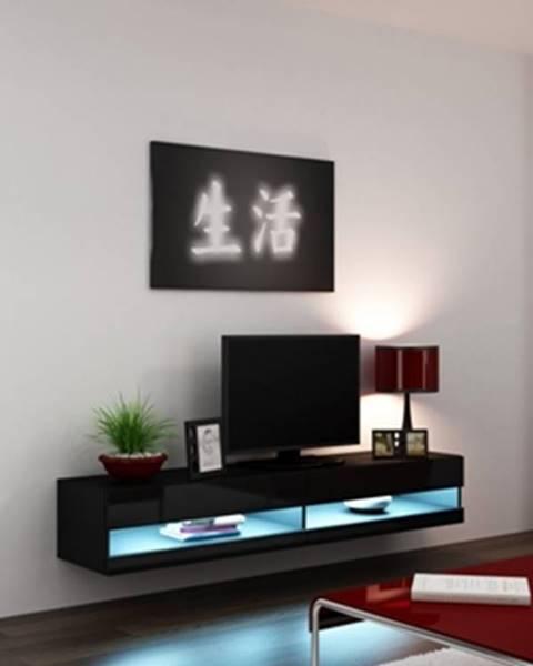 CAMA MEBLE Vigo New 180 tv stolík na stenu čierna